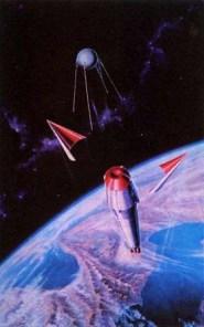 El R-7 libera su escudo térmico y el Sputnik-1 es desplegado.