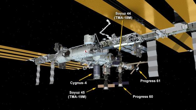 Situación de la Soyuz TMA-19M en la EEI. Ilustración: NASA.